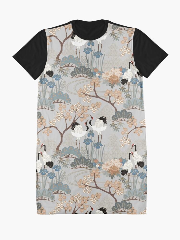 Alternate view of Japanese Garden Gray Graphic T-Shirt Dress