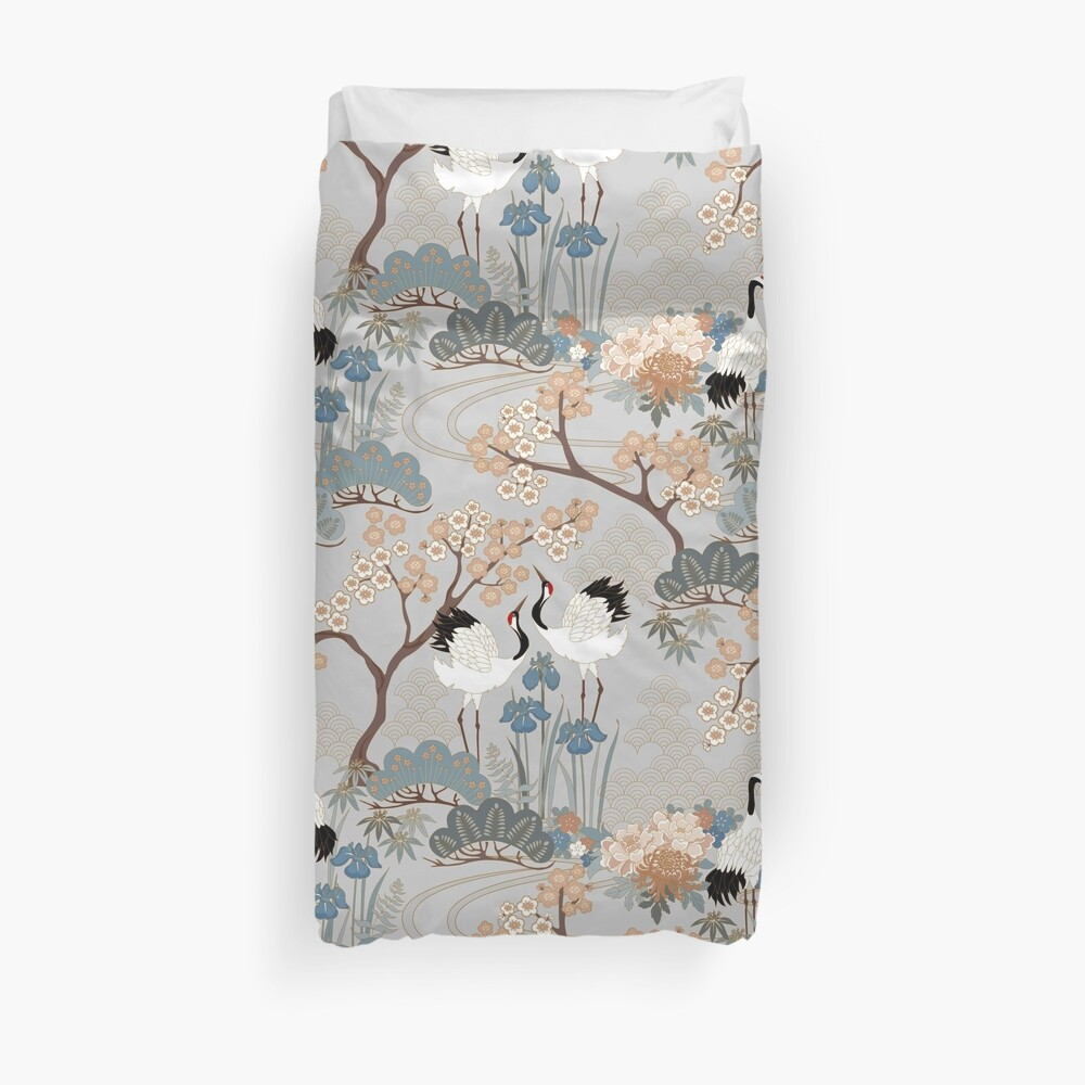 Japanese Garden Gray Duvet Cover