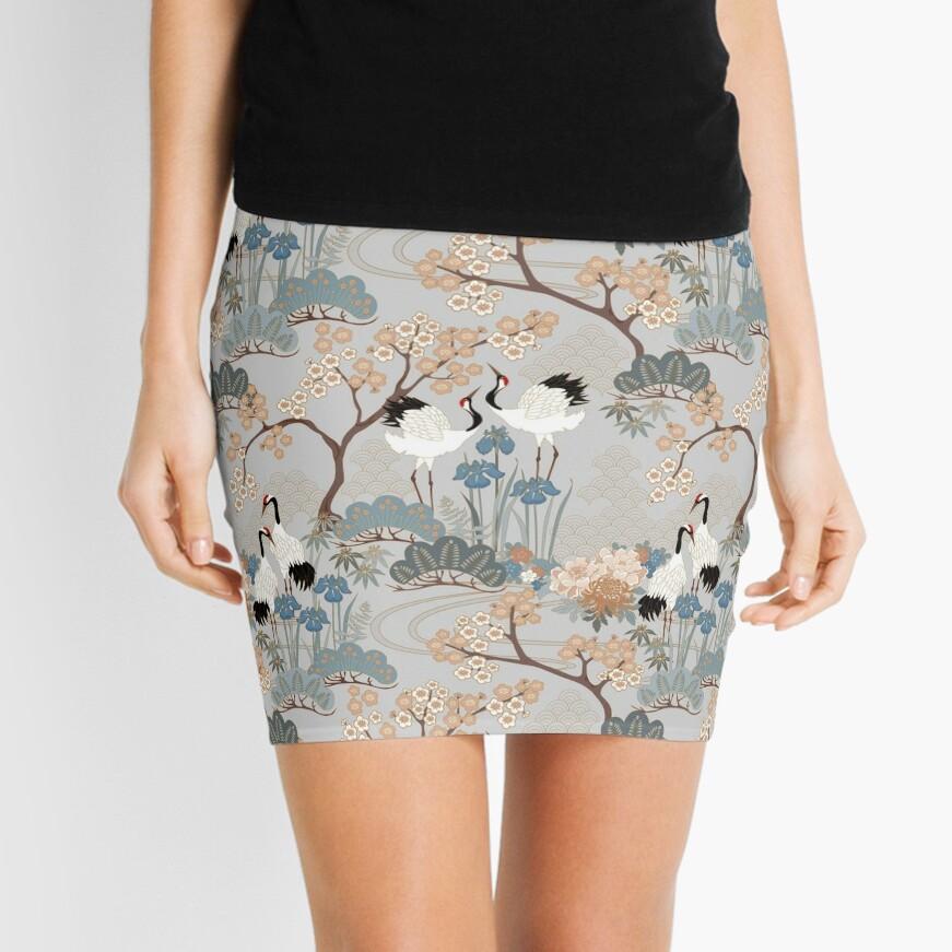 Japanese Garden Gray Mini Skirt