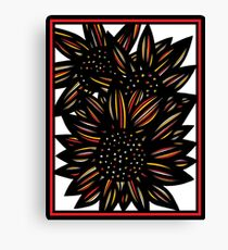Boeotian Flowers Yellow Red Black Canvas Print