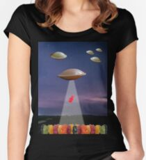 JELLY BABIES VS FLYING SAUCERS Women's Fitted Scoop T-Shirt