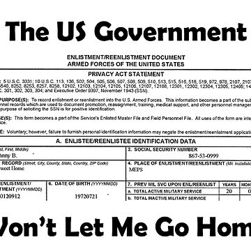 The US Government...Want Let Me Go Home by teesbyveterans