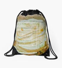 Collaged White Rose Drawstring Bag