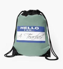 Hello I am a teacher Drawstring Bag