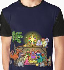 Cartoon Christmas Nativity Scene Graphic T-Shirt
