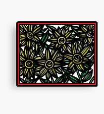 Canticle Flowers Yellow Red Black Canvas Print