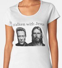 Geh mit Jesus Premium Rundhals-Shirt