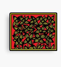 Alloquy Flowers Yellow Red Black Canvas Print