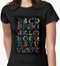 surreal alphabet black Women's Fitted T-Shirt