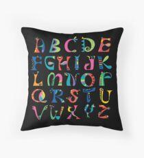 surreal alphabet black Throw Pillow