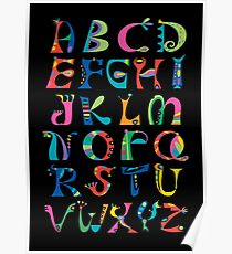 surreal alphabet black Poster