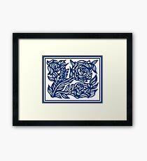 Labyrinthine Flowers Blue White Framed Print