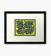 Lassitude Flowers Yellow Blue Framed Print