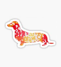 Dachshund Lovers - Abstract Red Sticker