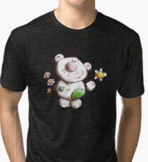 Little fluffy teddy with flower greetings - cartoon - bears Tri-blend T-Shirt