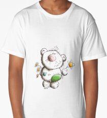 Little fluffy teddy with flower greetings - cartoon - bears Long T-Shirt