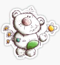 Little fluffy teddy with flower greetings - cartoon - bears Sticker