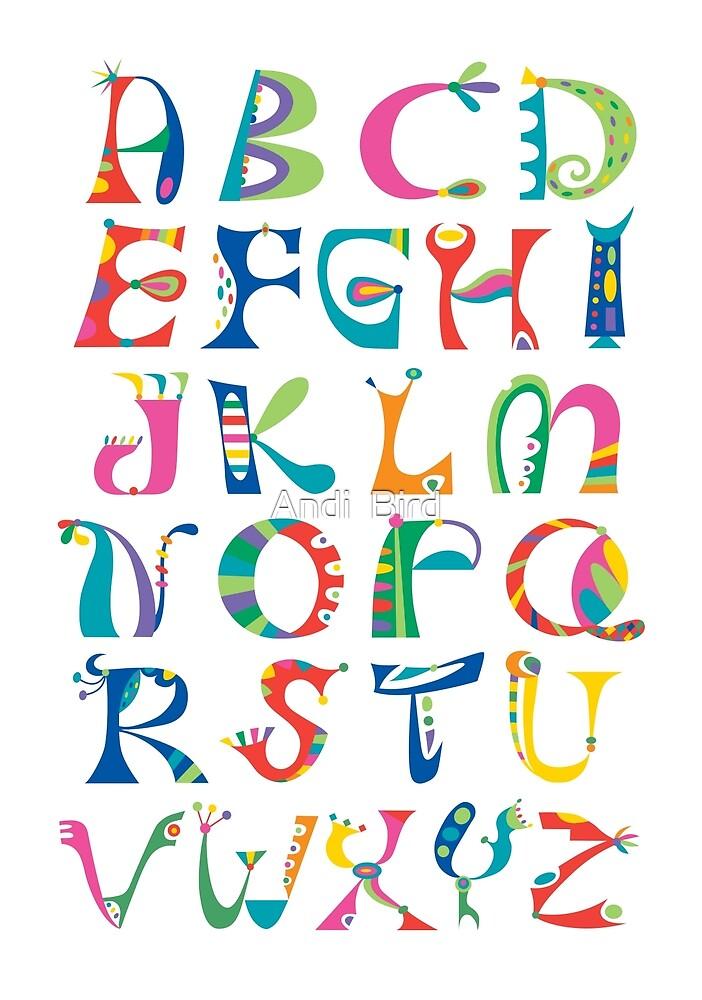 surreal alphabet white by Andi Bird