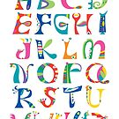 surreal alphabet white by Andi Bird