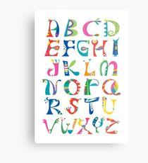 surreal alphabet white Metal Print