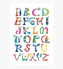 surreal alphabet white Photographic Print
