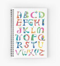 surreal alphabet white Spiral Notebook