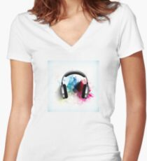 Listen To The Beat Women's Fitted V-Neck T-Shirt