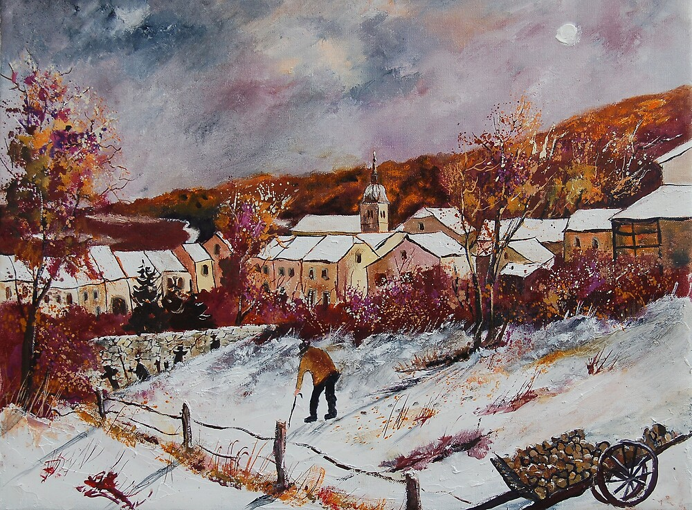 First snow in Chassepierre  by calimero