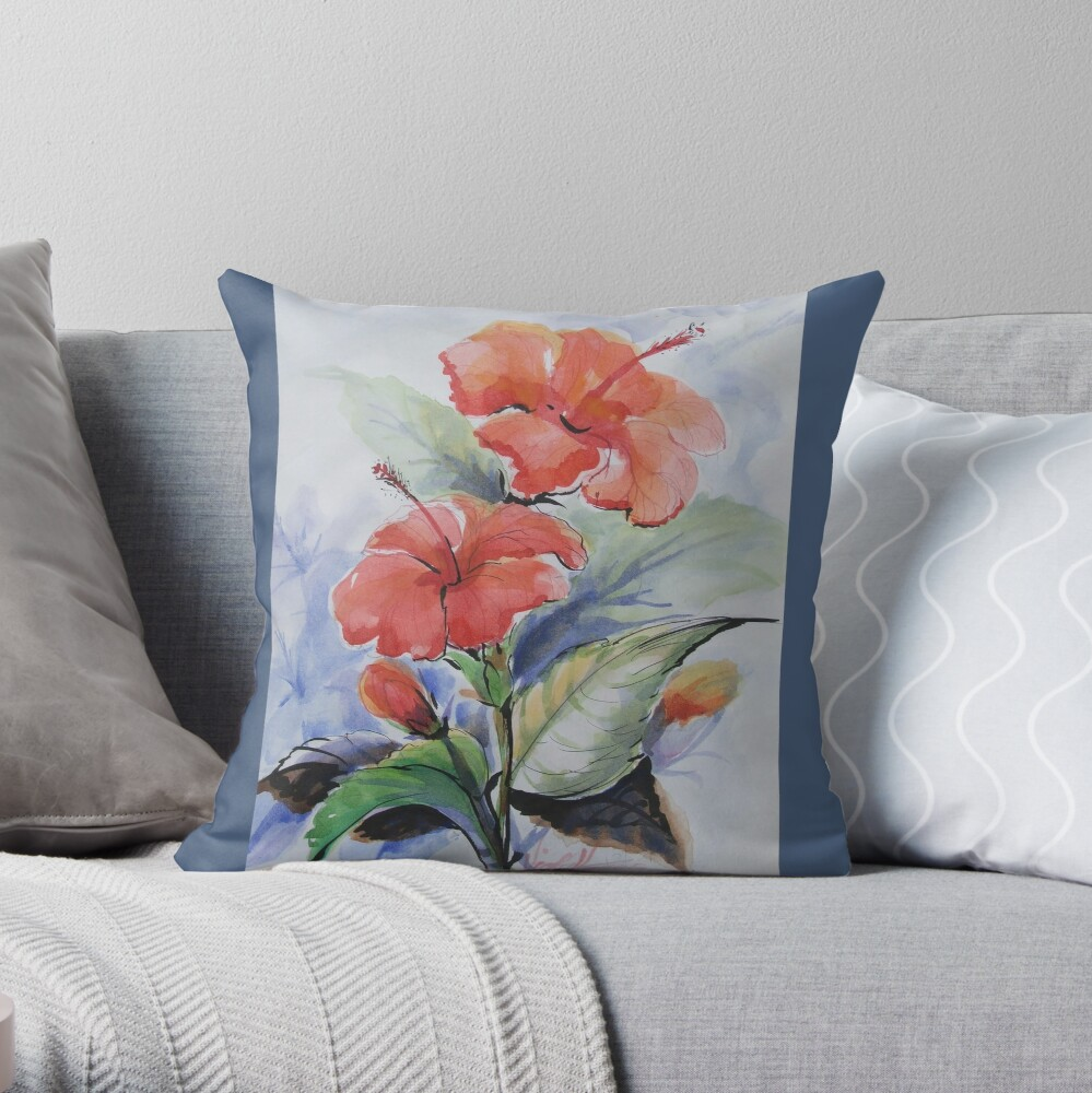 Quot Bunga Raya Quot Throw Pillow By Vickyh Redbubble