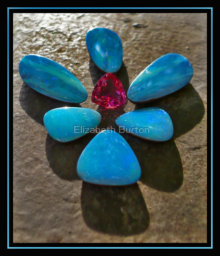 Black Opals/Boulder Opals and Tourmaline by Elizabeth Burton