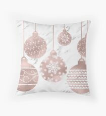 Rose gold marble Christmas baubles Throw Pillow