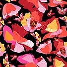 Seamless bright pattern of red gorgeous poppies by Tanor
