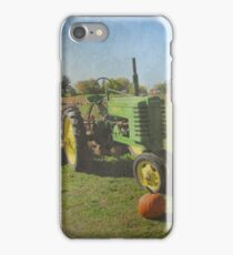 John Deere Tractor Harvest Time Photograph Textured iPhone Case/Skin