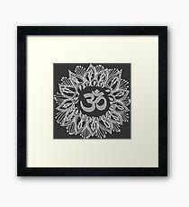 Om mandala in white Framed Print