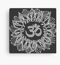 Om mandala in white Canvas Print