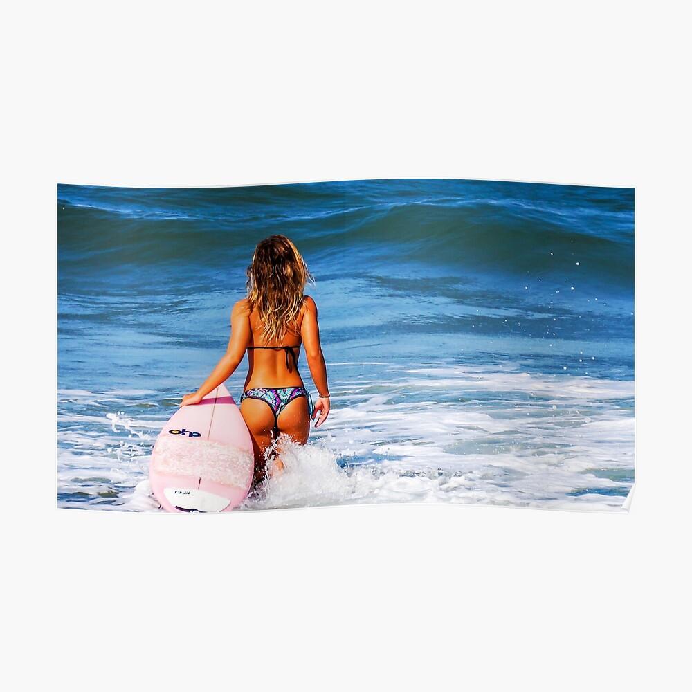 Hot Bikini Surfer Babe Póster