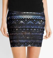 Aztec Black Galaxy Blue Mini Skirt