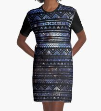 Vestido camiseta Aztec Black Galaxy Blue