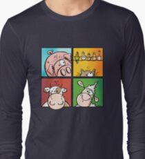 Colourful Farm Animals - Cow - Pig - Sheep - Cat - Cartoon T-Shirt