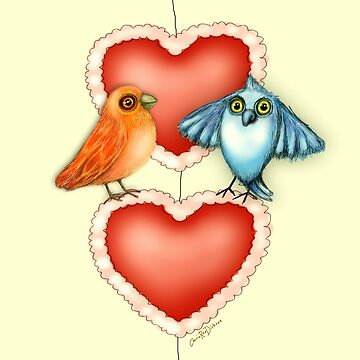 Love Birds with Hearts by cheriedirksen