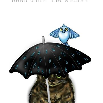 Under the Weather Cat with Bird by cheriedirksen