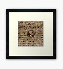 Pyrographed Golden Nefertiti on wood Framed Print
