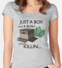 Just a box and a bush.. Women's Fitted Scoop T-Shirt