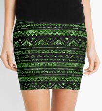 Aztec Black Tinsel Green Mini Skirt