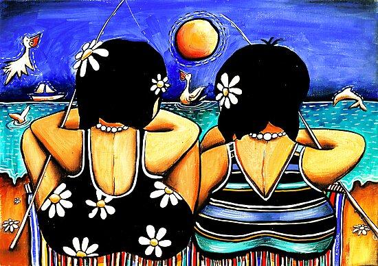 Sisters Fishing by Karin Taylor