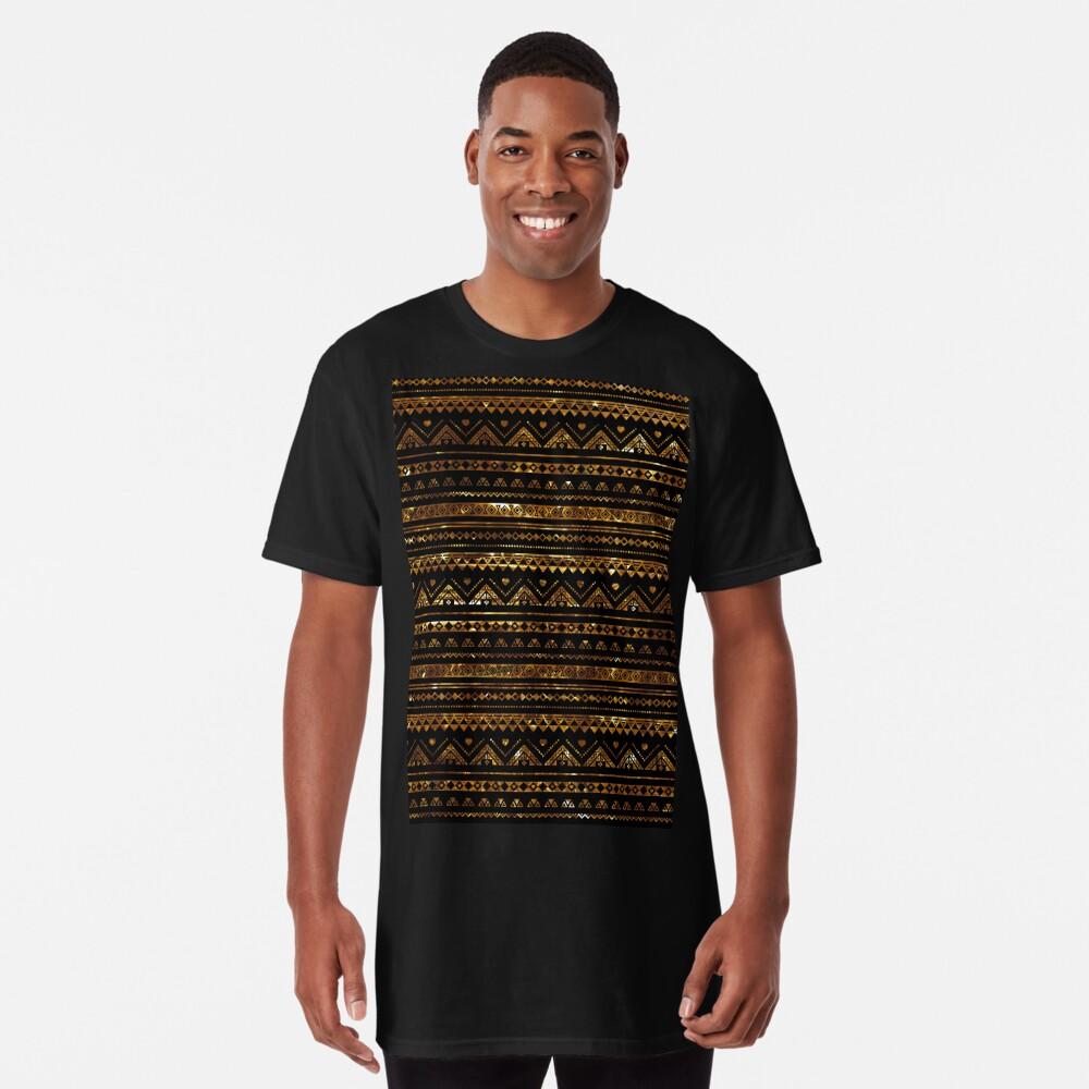 Aztec Black Tinsel Gold Long T-Shirt