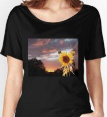 SUNFLOWER AND PINK SUMMER SUNSET Women's Relaxed Fit T-Shirt