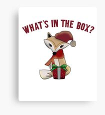 Cute Christmas What's In The Box Fox Gift Canvas Print