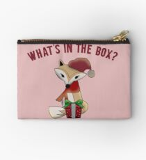 Cute Christmas What's In The Box Fox Gift Studio Pouch