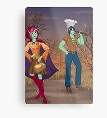 Red and the Woodsman Metal Print
